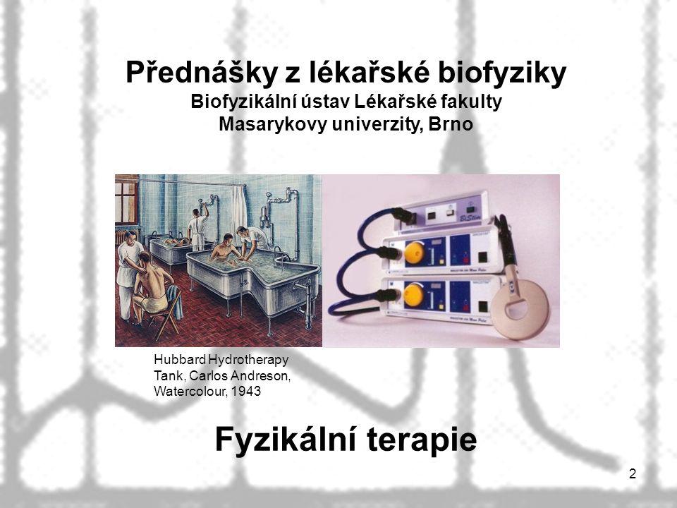 2 Fyzikální terapie Hubbard Hydrotherapy Tank, Carlos Andreson, Watercolour, 1943 Přednášky z lékařské biofyziky Biofyzikální ústav Lékařské fakulty Masarykovy univerzity, Brno