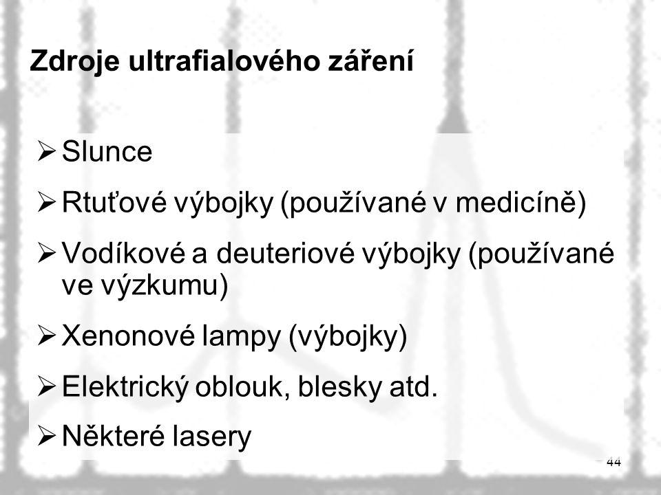 44 Zdroje ultrafialového záření  Slunce  Rtuťové výbojky (používané v medicíně)  Vodíkové a deuteriové výbojky (používané ve výzkumu)  Xenonové lampy (výbojky)  Elektrický oblouk, blesky atd.