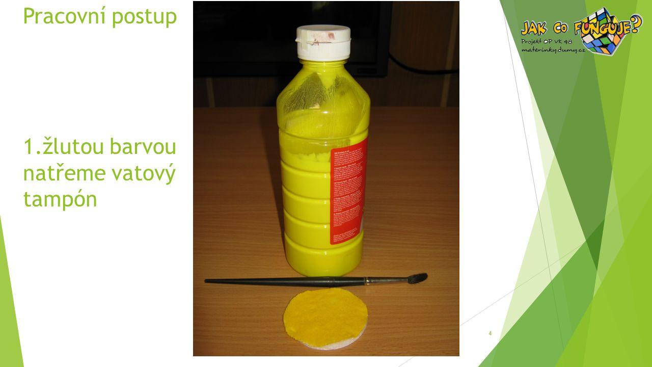 Pracovní postup 1.žlutou barvou natřeme vatový tampón 4