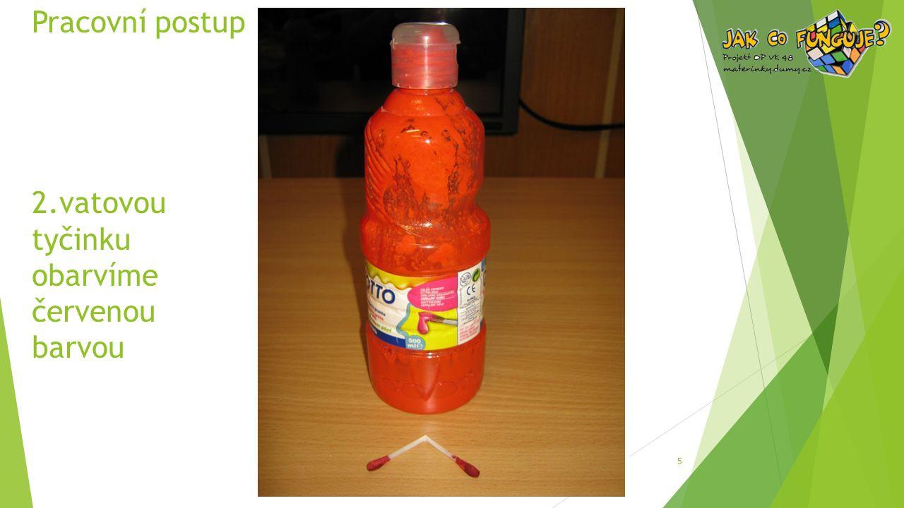 Pracovní postup 2.vatovou tyčinku obarvíme červenou barvou 5