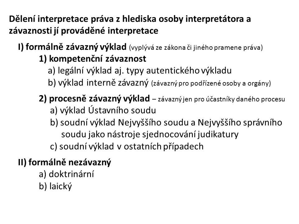 Dělení interpretace práva z hlediska osoby interpretátora a závaznosti jí prováděné interpretace I) formálně závazný výklad (vyplývá ze zákona či jiného pramene práva) 1) kompetenční závaznost a) legální výklad aj.