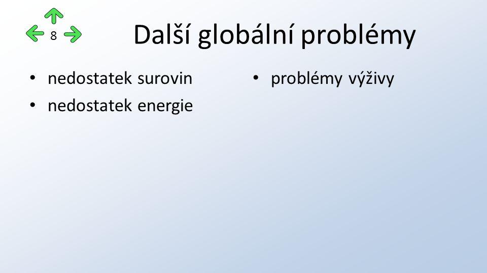 Další globální problémy nedostatek surovin nedostatek energie problémy výživy 8