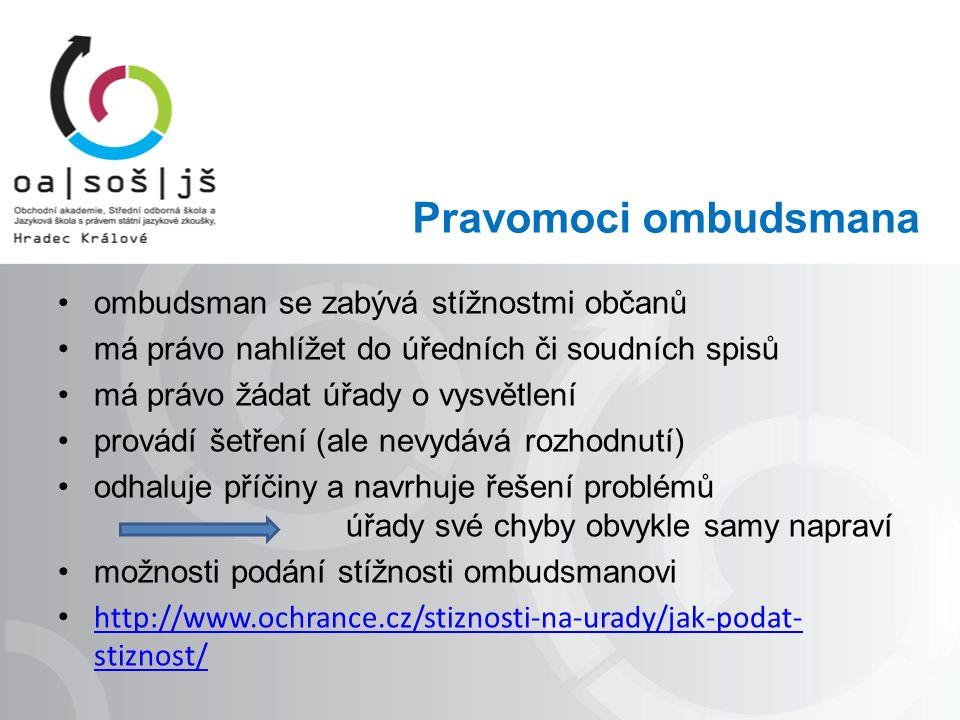 Pravomoci ombudsmana ombudsman se zabývá stížnostmi občanů má právo nahlížet do úředních či soudních spisů má právo žádat úřady o vysvětlení provádí šetření (ale nevydává rozhodnutí) odhaluje příčiny a navrhuje řešení problémů úřady své chyby obvykle samy napraví možnosti podání stížnosti ombudsmanovi http://www.ochrance.cz/stiznosti-na-urady/jak-podat- stiznost/ http://www.ochrance.cz/stiznosti-na-urady/jak-podat- stiznost/