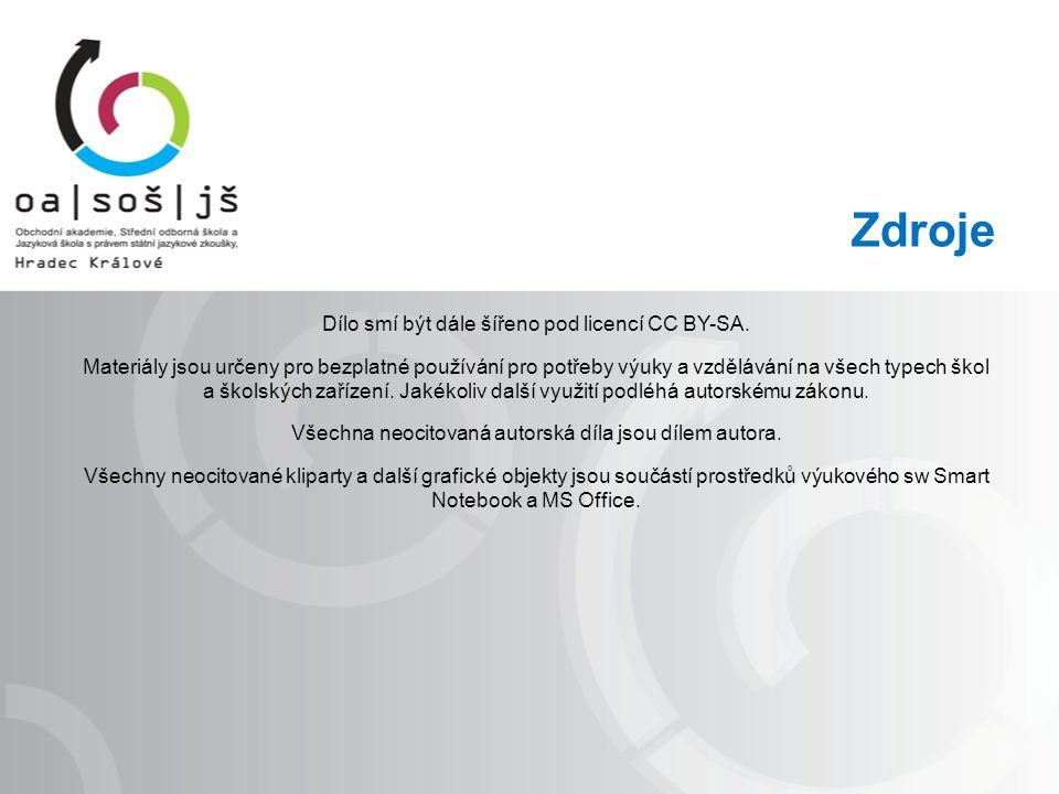 Zdroje Dílo smí být dále šířeno pod licencí CC BY-SA.