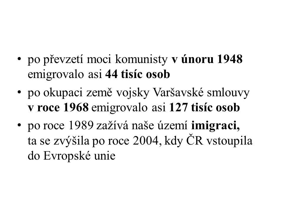 po převzetí moci komunisty v únoru 1948 emigrovalo asi 44 tisíc osob po okupaci země vojsky Varšavské smlouvy v roce 1968 emigrovalo asi 127 tisíc osob po roce 1989 zažívá naše území imigraci, ta se zvýšila po roce 2004, kdy ČR vstoupila do Evropské unie