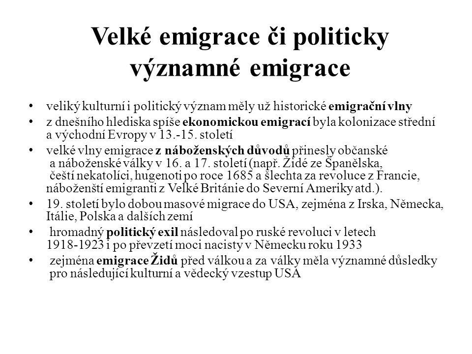 Velké emigrace či politicky významné emigrace veliký kulturní i politický význam měly už historické emigrační vlny z dnešního hlediska spíše ekonomickou emigrací byla kolonizace střední a východní Evropy v 13.-15.