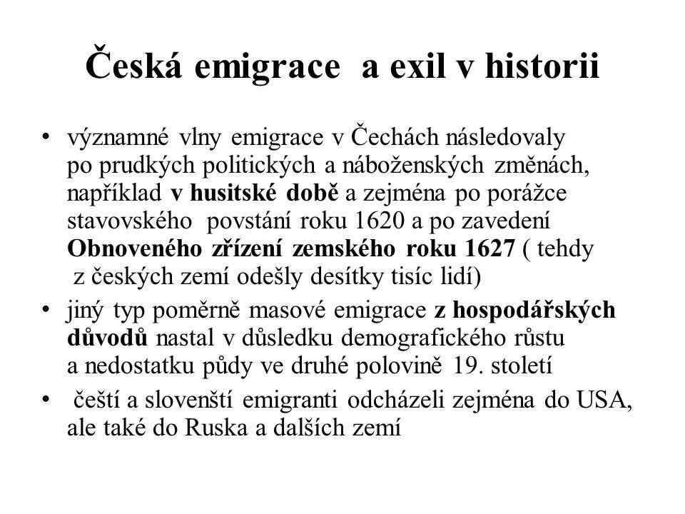 Česká emigrace a exil v historii významné vlny emigrace v Čechách následovaly po prudkých politických a náboženských změnách, například v husitské době a zejména po porážce stavovského povstání roku 1620 a po zavedení Obnoveného zřízení zemského roku 1627 ( tehdy z českých zemí odešly desítky tisíc lidí) jiný typ poměrně masové emigrace z hospodářských důvodů nastal v důsledku demografického růstu a nedostatku půdy ve druhé polovině 19.