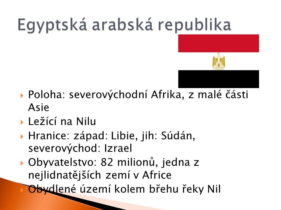  Poloha: severovýchodní Afrika, z malé části Asie  Ležící na Nilu  Hranice: západ: Libie, jih: Súdán, severovýchod: Izrael  Obyvatelstvo: 82 milionů, jedna z nejlidnatějších zemí v Africe  Obydlené území kolem břehu řeky Nil