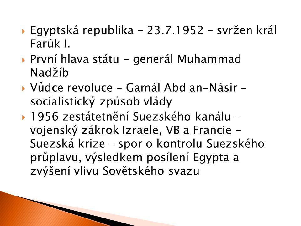  Egyptská republika – 23.7.1952 – svržen král Farúk I.  První hlava státu – generál Muhammad Nadžíb  Vůdce revoluce – Gamál Abd an-Násir – socialis