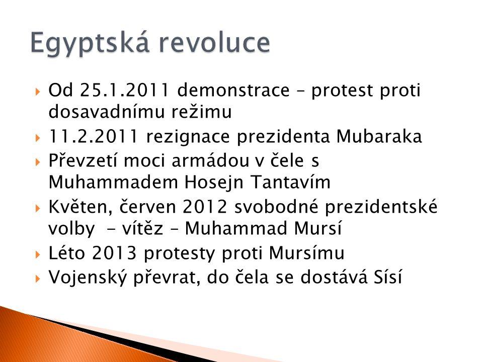  Od 25.1.2011 demonstrace – protest proti dosavadnímu režimu  11.2.2011 rezignace prezidenta Mubaraka  Převzetí moci armádou v čele s Muhammadem Ho