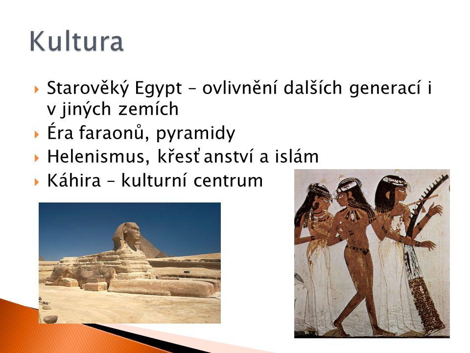  Starověký Egypt – ovlivnění dalších generací i v jiných zemích  Éra faraonů, pyramidy  Helenismus, křesťanství a islám  Káhira – kulturní centrum