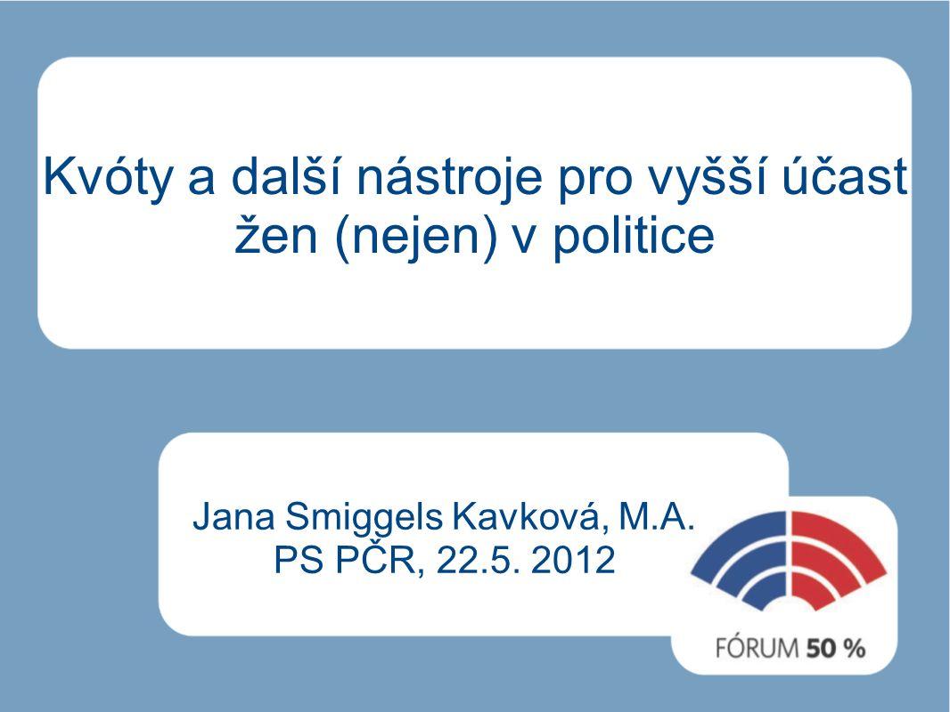 Kvóty a další nástroje pro vyšší účast žen (nejen) v politice Jana Smiggels Kavková, M.A.