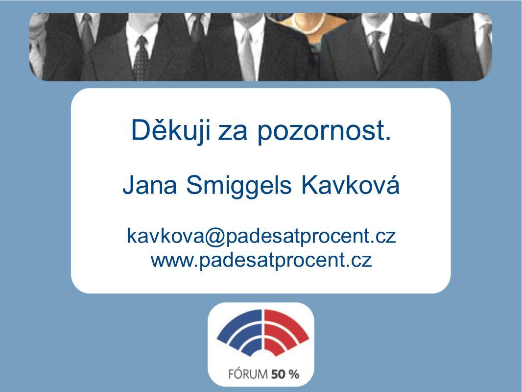 Děkuji za pozornost. Jana Smiggels Kavková kavkova@padesatprocent.cz www.padesatprocent.cz