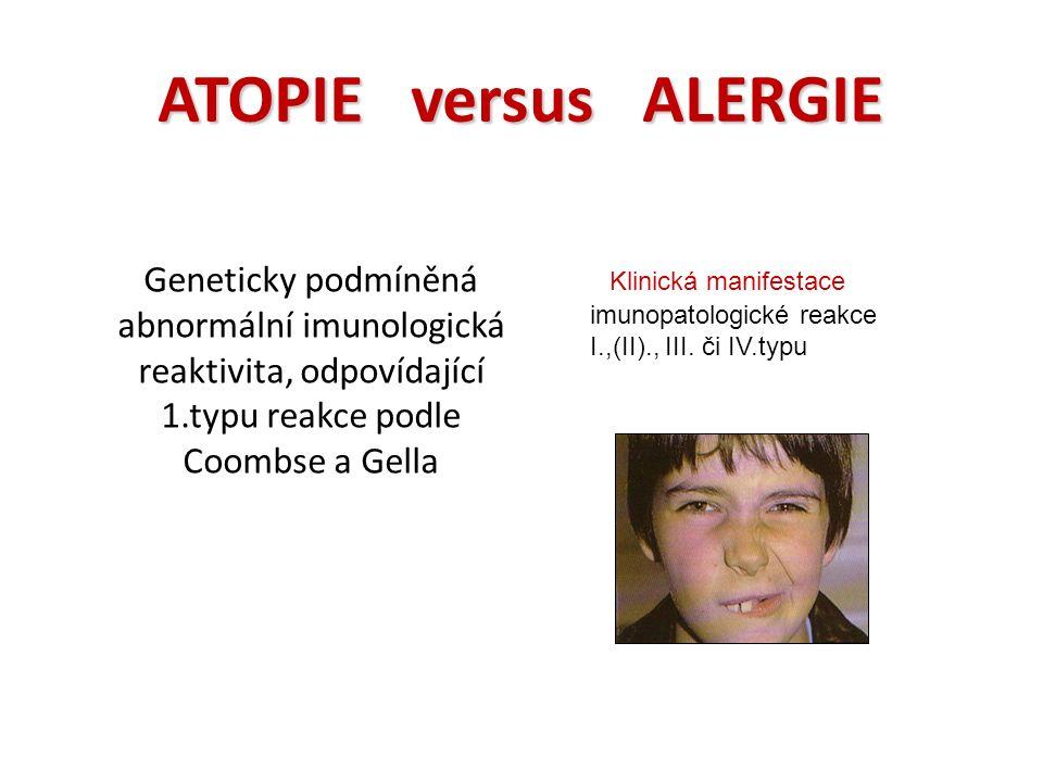 ATOPIE versus ALERGIE Geneticky podmíněná abnormální imunologická reaktivita, odpovídající 1.typu reakce podle Coombse a Gella Klinická manifestace imunopatologické reakce I.,(II)., III.