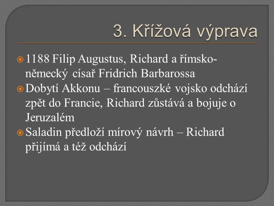  1188 Filip Augustus, Richard a římsko- německý císař Fridrich Barbarossa  Dobytí Akkonu – francouszké vojsko odchází zpět do Francie, Richard zůstá