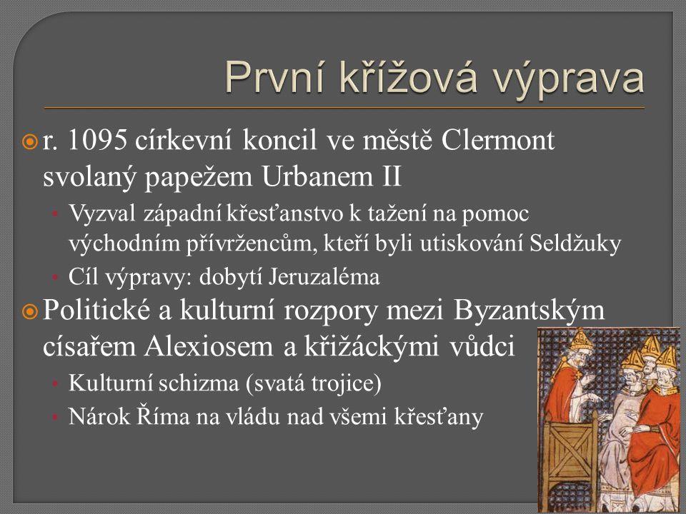  r. 1095 církevní koncil ve městě Clermont svolaný papežem Urbanem II Vyzval západní křesťanstvo k tažení na pomoc východním přívržencům, kteří byli