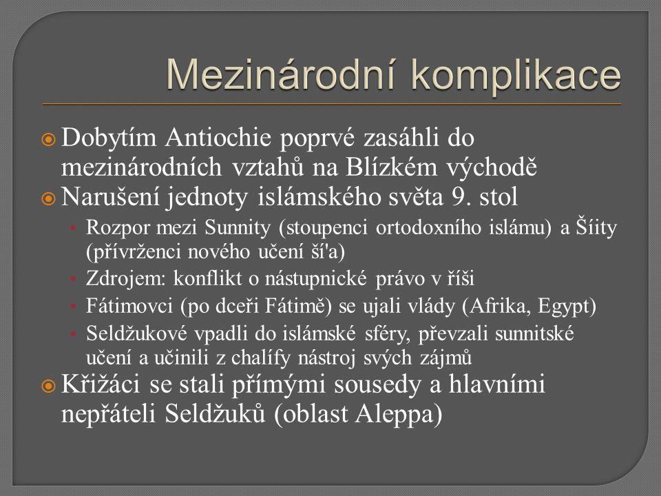  Dobytím Antiochie poprvé zasáhli do mezinárodních vztahů na Blízkém východě  Narušení jednoty islámského světa 9. stol Rozpor mezi Sunnity (stoupen