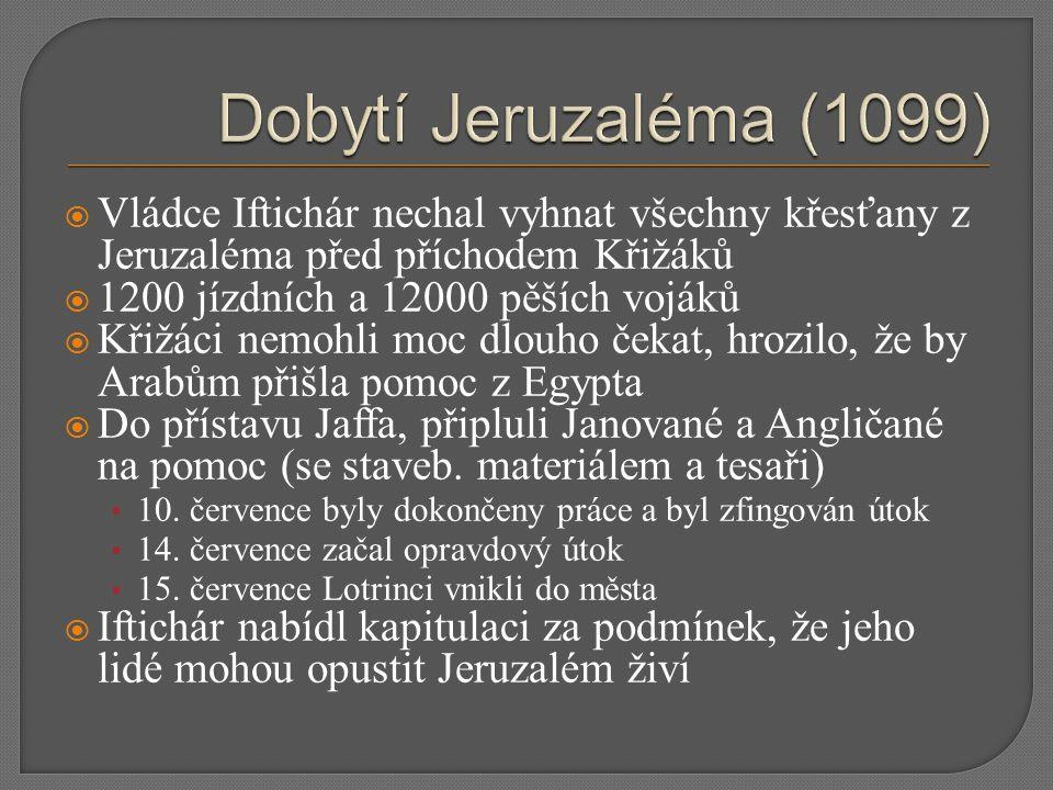  Vládce Iftichár nechal vyhnat všechny křesťany z Jeruzaléma před příchodem Křižáků  1200 jízdních a 12000 pěších vojáků  Křižáci nemohli moc dlouh
