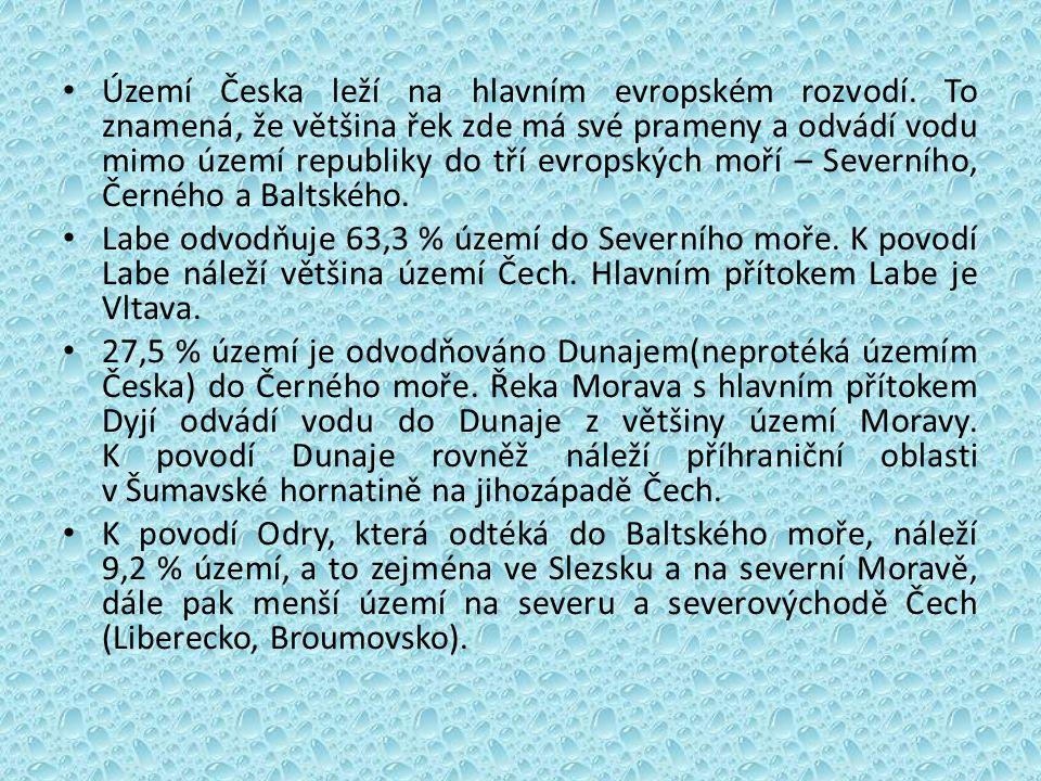 Území Česka leží na hlavním evropském rozvodí.