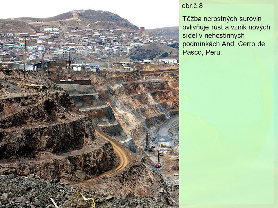 obr.č.8 Těžba nerostných surovin ovlivňuje růst a vznik nových sídel v nehostinných podmínkách And, Cerro de Pasco, Peru.