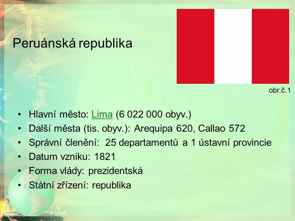 Peruánská republika Hlavní město: Lima (6 022 000 obyv.)Lima Další města (tis.