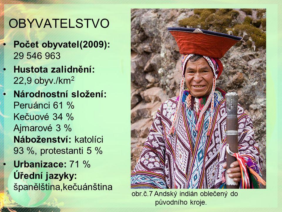 OBYVATELSTVO Počet obyvatel(2009): 29 546 963 Hustota zalidnění: 22,9 obyv./km 2 Národnostní složení: Peruánci 61 % Kečuové 34 % Ajmarové 3 % Náboženství: katolíci 93 %, protestanti 5 % Urbanizace: 71 % Úřední jazyky: španělština,kečuánština obr.č.7 Andský indián oblečený do původního kroje.
