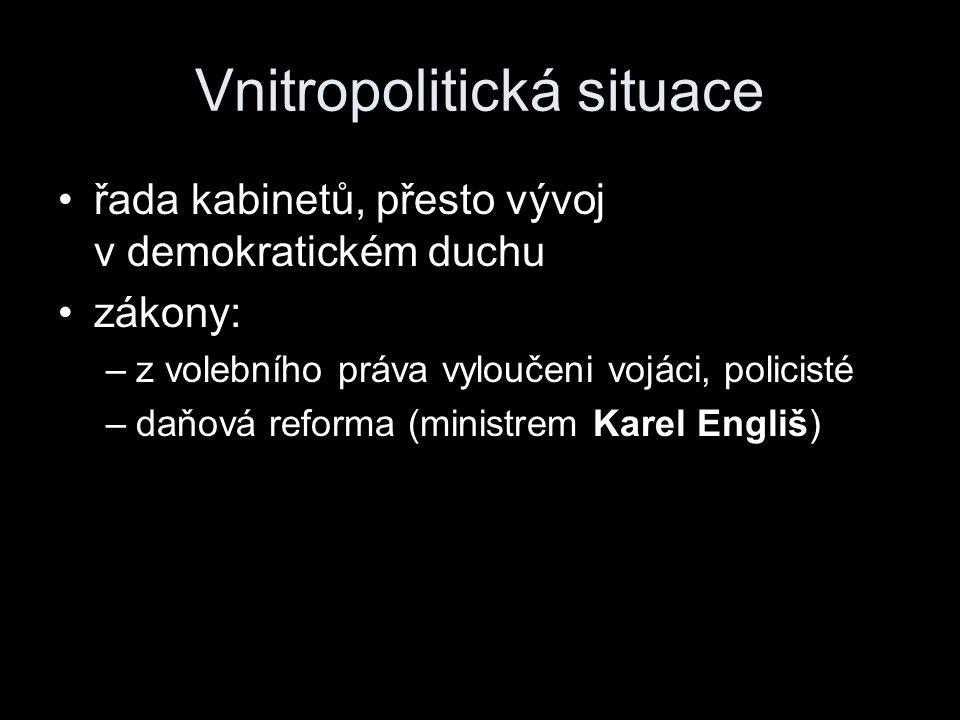 Vnitropolitická situace řada kabinetů, přesto vývoj v demokratickém duchu zákony: –z volebního práva vyloučeni vojáci, policisté –daňová reforma (mini