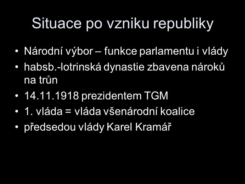 Situace po vzniku republiky Národní výbor – funkce parlamentu i vlády habsb.-lotrinská dynastie zbavena nároků na trůn 14.11.1918 prezidentem TGM 1. v