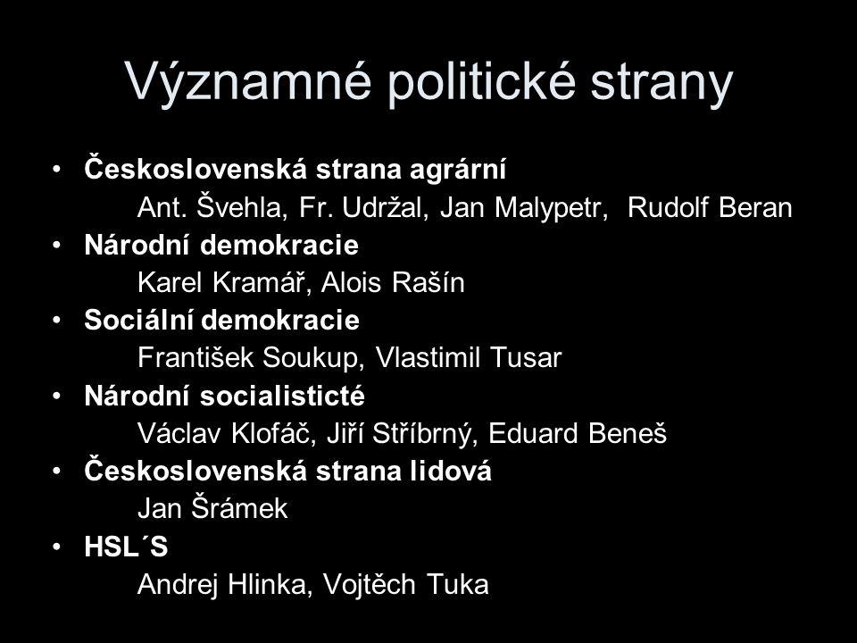 Významné politické strany Československá strana agrární Ant.