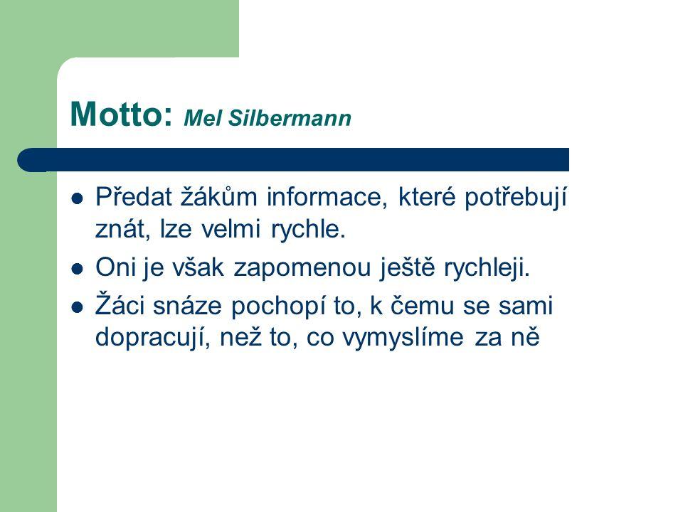 Motto: Mel Silbermann Předat žákům informace, které potřebují znát, lze velmi rychle.