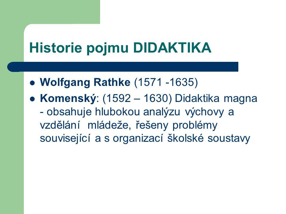 Historie pojmu DIDAKTIKA Wolfgang Rathke (1571 -1635) Komenský: (1592 – 1630) Didaktika magna - obsahuje hlubokou analýzu výchovy a vzdělání mládeže, řešeny problémy související a s organizací školské soustavy