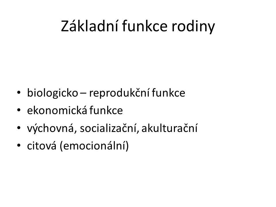 Základní funkce rodiny biologicko – reprodukční funkce ekonomická funkce výchovná, socializační, akulturační citová (emocionální)