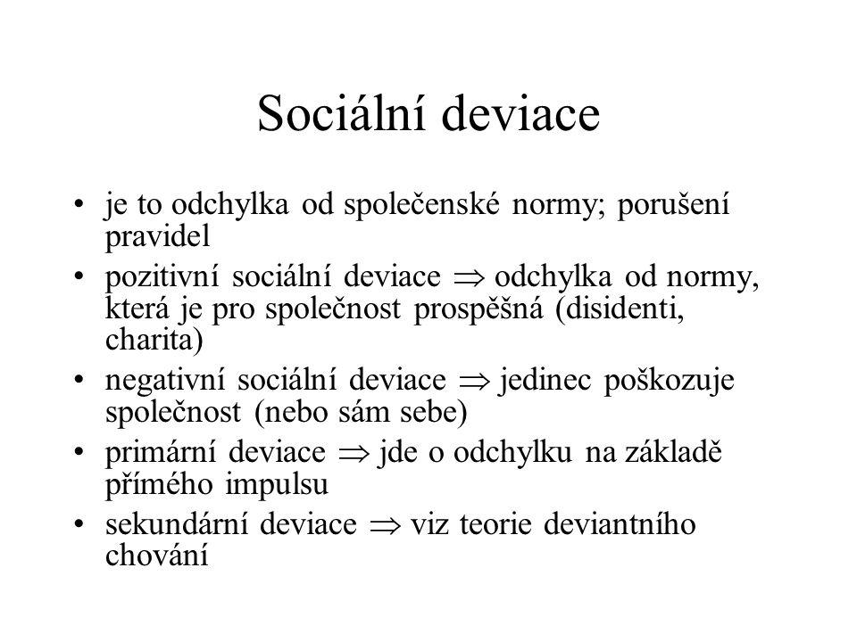 Sociální deviace je to odchylka od společenské normy; porušení pravidel pozitivní sociální deviace  odchylka od normy, která je pro společnost prospěšná (disidenti, charita) negativní sociální deviace  jedinec poškozuje společnost (nebo sám sebe) primární deviace  jde o odchylku na základě přímého impulsu sekundární deviace  viz teorie deviantního chování