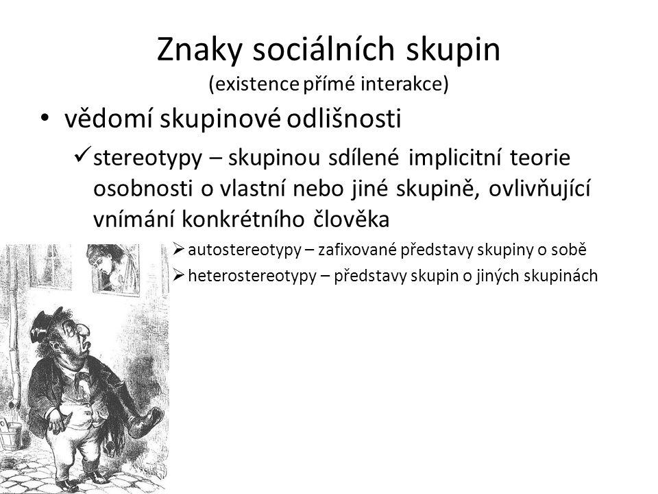 Znaky sociálních skupin (existence přímé interakce) vědomí skupinové odlišnosti stereotypy – skupinou sdílené implicitní teorie osobnosti o vlastní ne