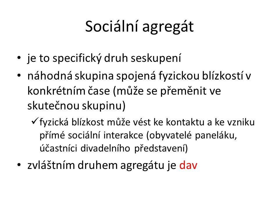 Sociální agregát je to specifický druh seskupení náhodná skupina spojená fyzickou blízkostí v konkrétním čase (může se přeměnit ve skutečnou skupinu) fyzická blízkost může vést ke kontaktu a ke vzniku přímé sociální interakce (obyvatelé paneláku, účastníci divadelního představení) zvláštním druhem agregátu je dav