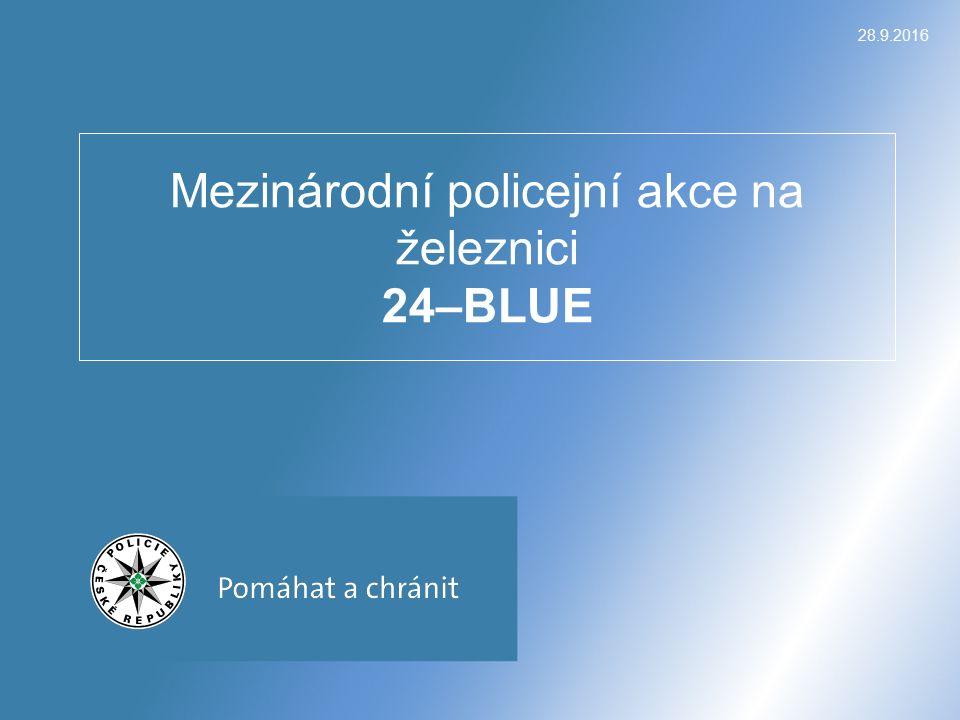 24–BLUE – konkrétní případy  2xTČ týkající se graffiti/vandalismus/poškození věci – 1 x KŘPC a 1x KŘPB  Zadržené drogy: 0,1 g pervitinu – KŘPS, 2,5 g marihuany – KŘPP, 1 g marihuany – KŘPB  Demonstrativní pokus sebevraždy skokem pod vlak – KŘPM Ilegální migrace: KŘPE - 2x Ukrajina KŘPU - 1x Slovensko KŘPL - 1x Ukrajina KŘPA – 1x Maroko KŘPB – 6x z toho 3x Irán, 3x Pákistán 28.9.2016 24 – BLUE plk.