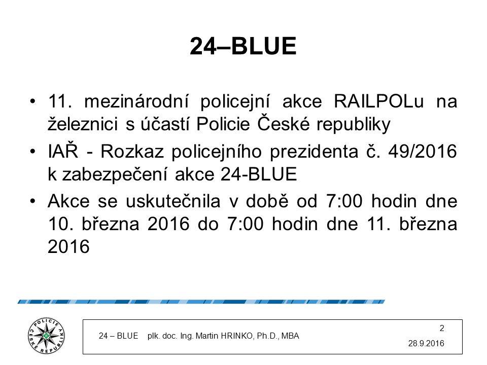 28.9.2016 24 – BLUE plk. doc. Ing. Martin HRINKO, Ph.D., MBA 2 24–BLUE 11. mezinárodní policejní akce RAILPOLu na železnici s účastí Policie České rep