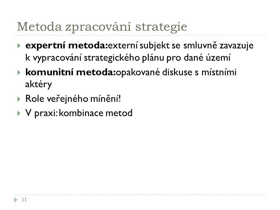 Metoda zpracování strategie  expertní metoda:externí subjekt se smluvně zavazuje k vypracování strategického plánu pro dané území  komunitní metoda: