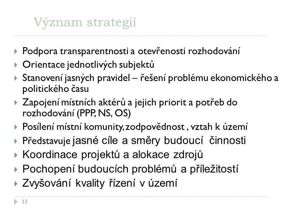 Význam strategií 13  Podpora transparentnosti a otevřenosti rozhodování  Orientace jednotlivých subjektů  Stanovení jasných pravidel – řešení probl
