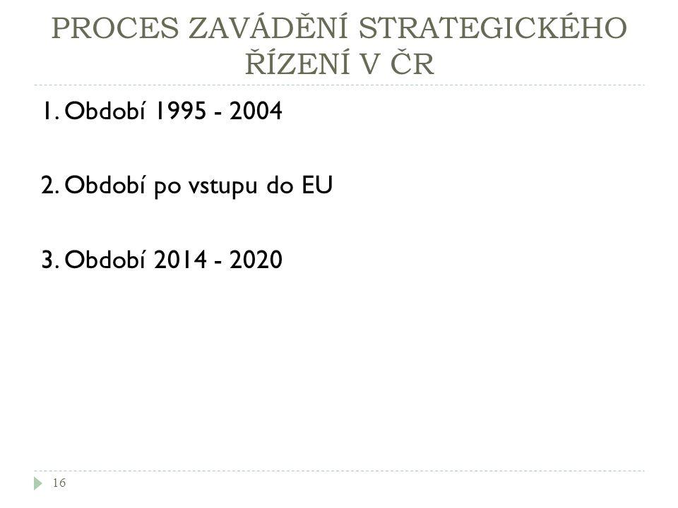 PROCES ZAVÁDĚNÍ STRATEGICKÉHO ŘÍZENÍ V ČR 1. Období 1995 - 2004 2. Období po vstupu do EU 3. Období 2014 - 2020 16