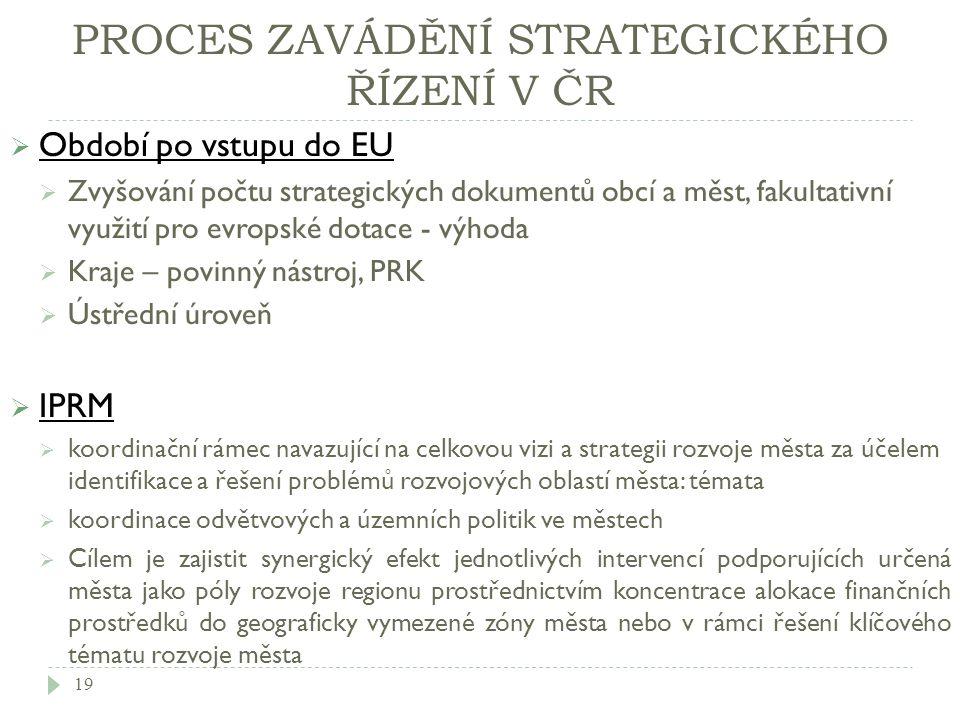 PROCES ZAVÁDĚNÍ STRATEGICKÉHO ŘÍZENÍ V ČR  Období po vstupu do EU  Zvyšování počtu strategických dokumentů obcí a měst, fakultativní využití pro evr