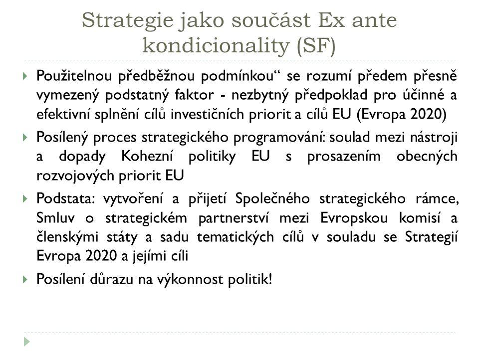 Strategie jako součást Ex ante kondicionality (SF)  Použitelnou předběžnou podmínkou se rozumí předem přesně vymezený podstatný faktor - nezbytný předpoklad pro účinné a efektivní splnění cílů investičních priorit a cílů EU (Evropa 2020)  Posílený proces strategického programování: soulad mezi nástroji a dopady Kohezní politiky EU s prosazením obecných rozvojových priorit EU  Podstata: vytvoření a přijetí Společného strategického rámce, Smluv o strategickém partnerství mezi Evropskou komisí a členskými státy a sadu tematických cílů v souladu se Strategií Evropa 2020 a jejími cíli  Posílení důrazu na výkonnost politik!