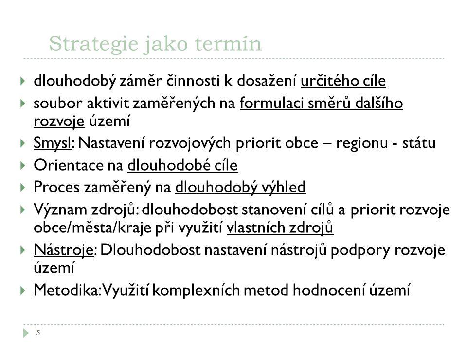 Strategie jako termín 5  dlouhodobý záměr činnosti k dosažení určitého cíle  soubor aktivit zaměřených na formulaci směrů dalšího rozvoje území  Sm