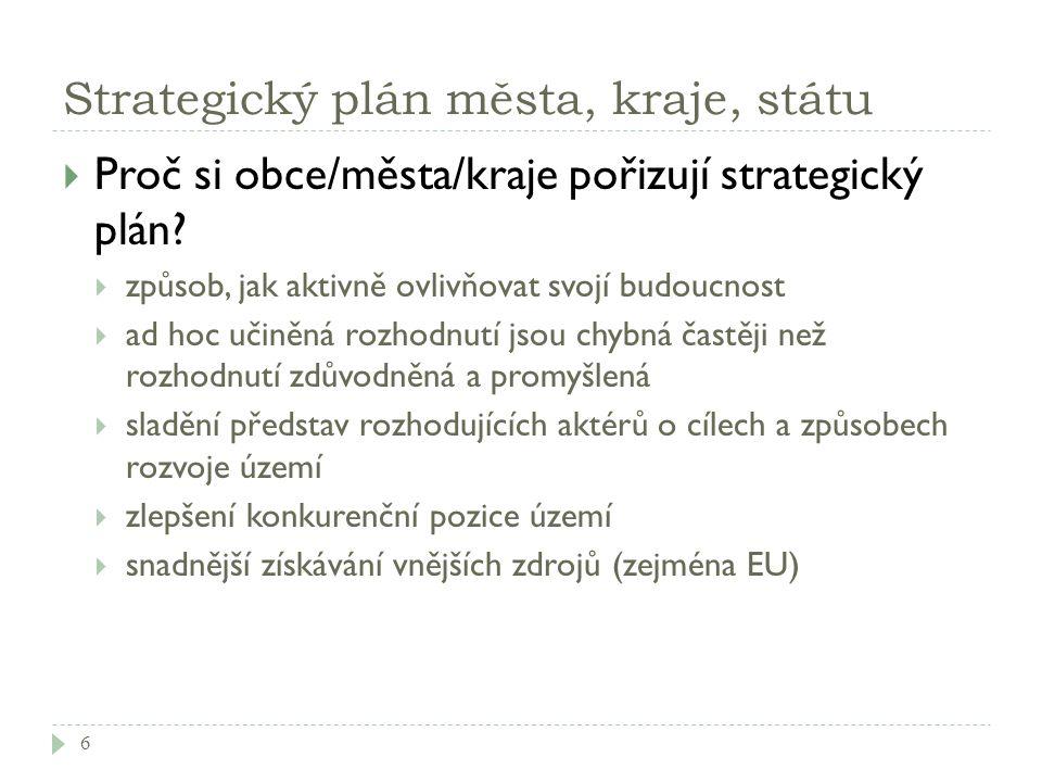 Strategický plán města, kraje, státu  Proč si obce/města/kraje pořizují strategický plán?  způsob, jak aktivně ovlivňovat svojí budoucnost  ad hoc