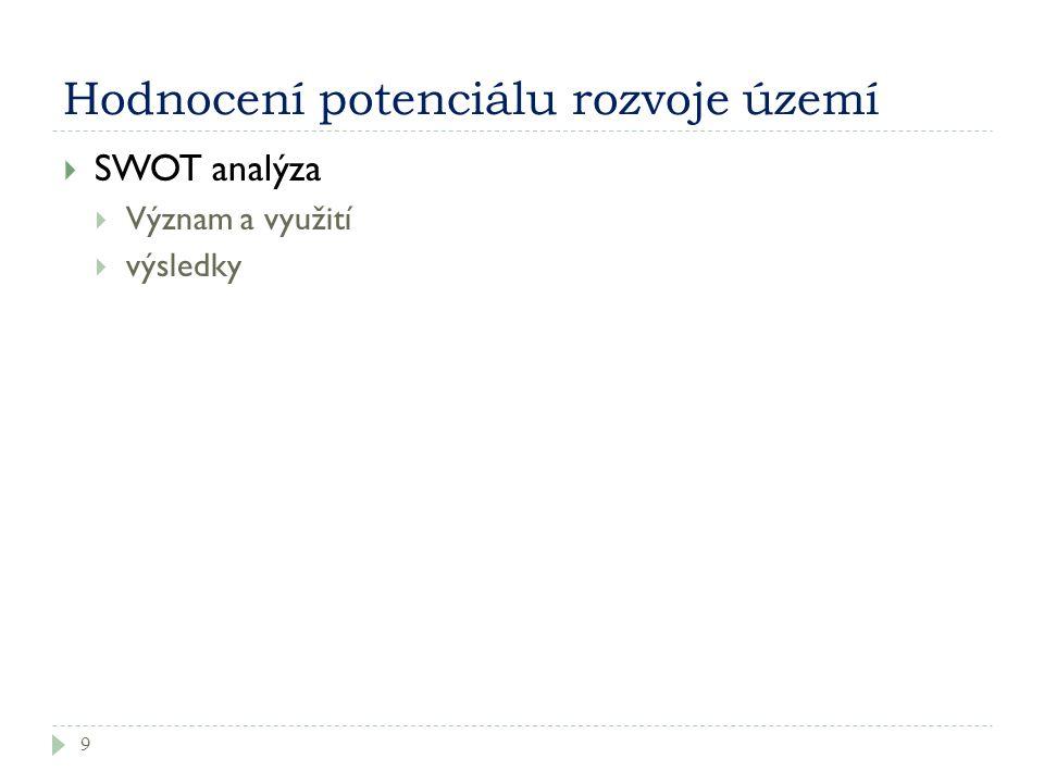 Hodnocení potenciálu rozvoje území 9  SWOT analýza  Význam a využití  výsledky
