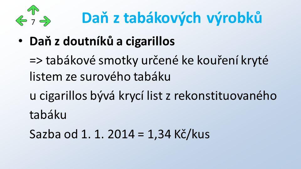 Daň z doutníků a cigarillos => tabákové smotky určené ke kouření kryté listem ze surového tabáku u cigarillos bývá krycí list z rekonstituovaného tabáku Sazba od 1.