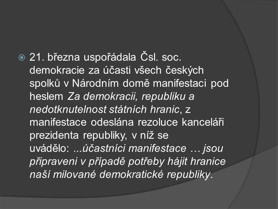  21.března uspořádala Čsl. soc.