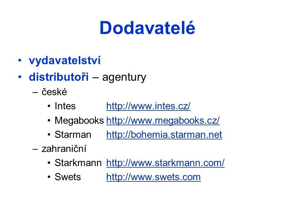 Dodavatelé vydavatelství distributoři – agentury –české Inteshttp://www.intes.cz/http://www.intes.cz/ Megabookshttp://www.megabooks.cz/http://www.megabooks.cz/ Starmanhttp://bohemia.starman.nethttp://bohemia.starman.net –zahraniční Starkmannhttp://www.starkmann.com/http://www.starkmann.com/ Swetshttp://www.swets.comhttp://www.swets.com