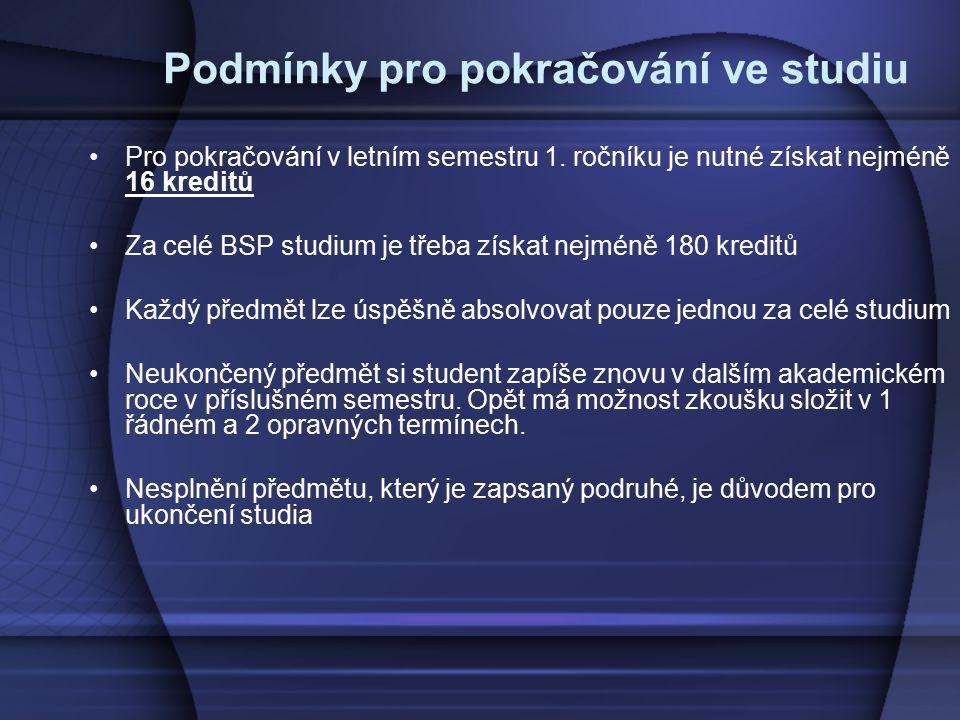 Podmínky pro pokračování ve studiu Pro pokračování v letním semestru 1. ročníku je nutné získat nejméně 16 kreditů Za celé BSP studium je třeba získat