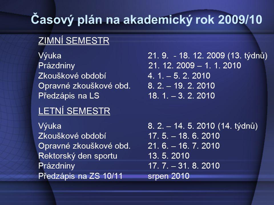 Časový plán na akademický rok 2009/10 ZIMNÍ SEMESTR Výuka 21. 9. - 18. 12. 2009 (13. týdnů) Prázdniny 21. 12. 2009 – 1. 1. 2010 Zkouškové období4. 1.